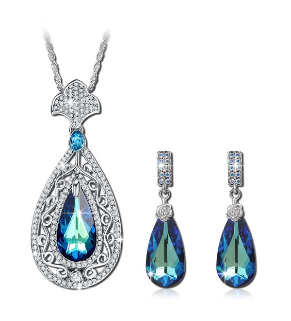 QIANSE Peacock Jewelry Set Made with Swarovski Crystals- Pendant Necklace and Earrings Set - CQ1886XULHK