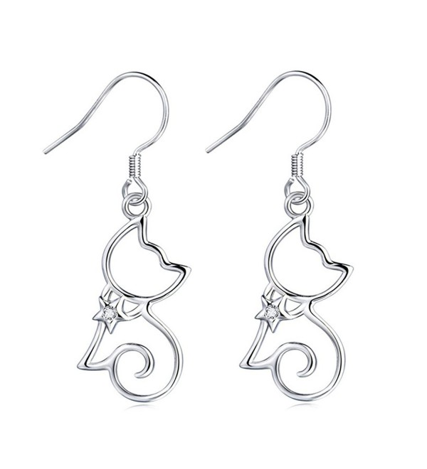 MASOP 925 Sterling Silver Cubic Zirconia Kitten Cat Dangle Earrings for Women Girls - CF12LVQBXV3