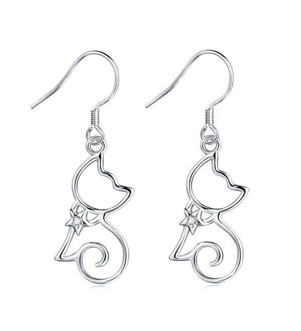 MASOP 925 Sterling Silver Cubic Zirconia Kitten Cat Dangle Earrings for Women Girls - CF12LVQBXV3