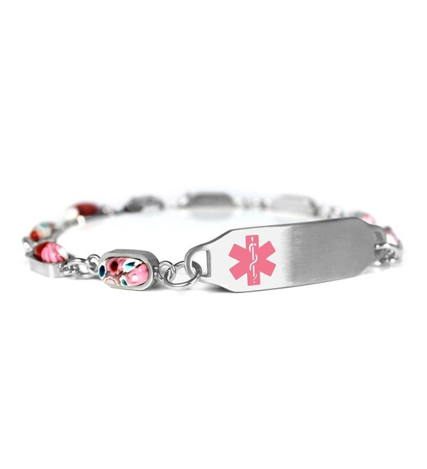 MyIDDr Blank Medical Alert Bracelet for Women - Steel & Glass - CB12O0NQVQO