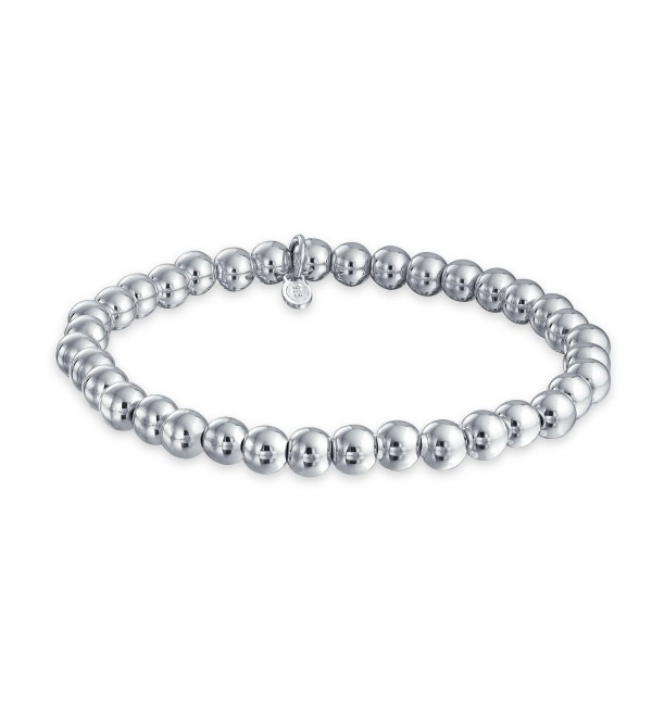 Bling Jewelry Sterling Silver 6mm Bead Stretch Bracelet Stackable 7.5 Inch - C011IKYBMCZ