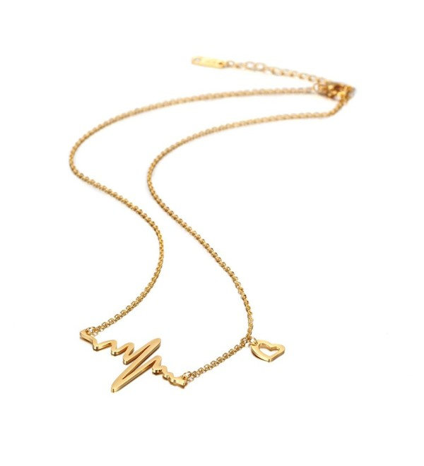 14ct Gold Plated Heart Pulse Necklace for Women - CG1827Y9HZY