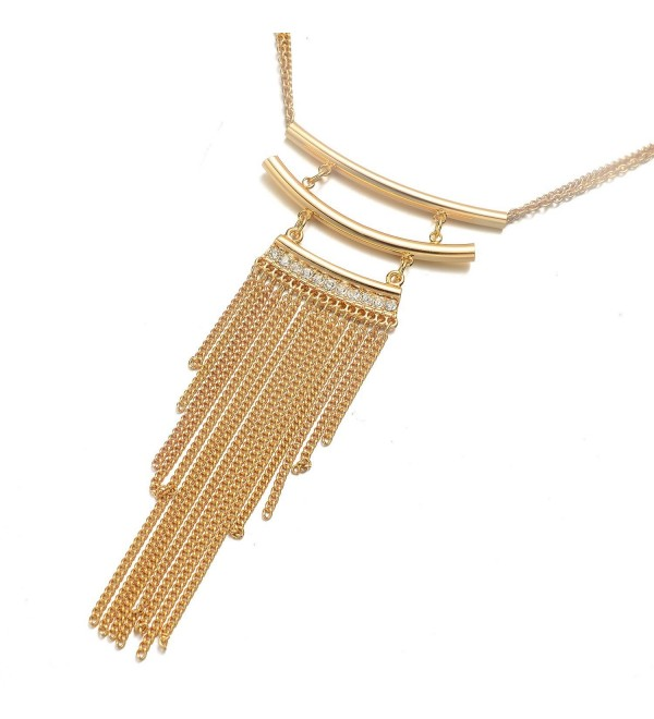 "Onnea Gold Plated Horizontal Tube Bar Tassel Necklace- 32""+4"" - CX1236TA6WT"