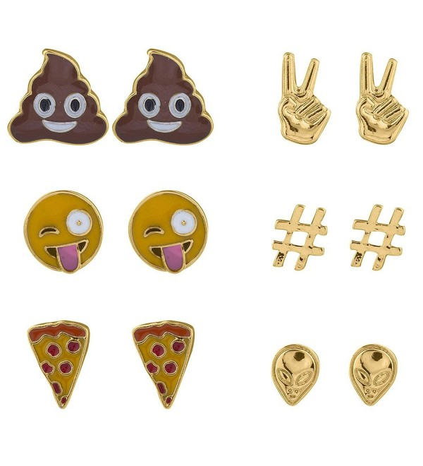 Lux Accessories Emoji Poop Peace Sign Pizza Alien Hashtag Earring Set 6 pairs - Gold - CW17Y0GRN4G