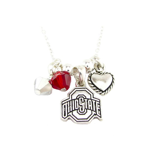 Ohio State Buckeyes Red Austrian Crystal Heart Logo Silver Chain Necklace OSU - C311QZWTLBX