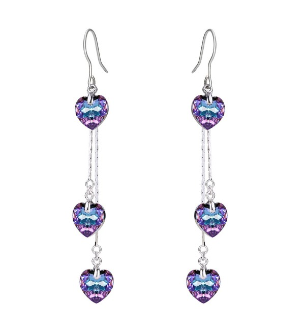 FANZE Women's Bridal 3 Love Heart of Ocean Hook Dangle Earrings Made with Swarovski Crystal - Silver-Tone- Purple - CF1880R90Y2