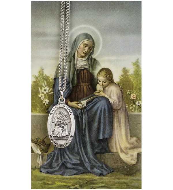 Saint Anne 7/8-inch Pewter Medal Pendant Necklace with Holy Prayer Card - CG114BLI3B9