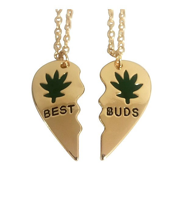 Art Attack Broken Heart Best Buds Marijuana Pot 420 Weed Ganja Best Friends BFF Matching Necklace Gift Set - C612ENYPZXH