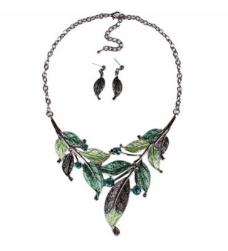 Qiyun (TM) Elegant Women's Green Leaf Festoon Rhinestone Bib Necklace Stud Earrings Set - C811LB4TNFJ