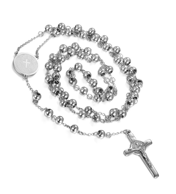 Flongo Vintage Stainless Crucifix Necklace - silver - CQ17WWZO7HO