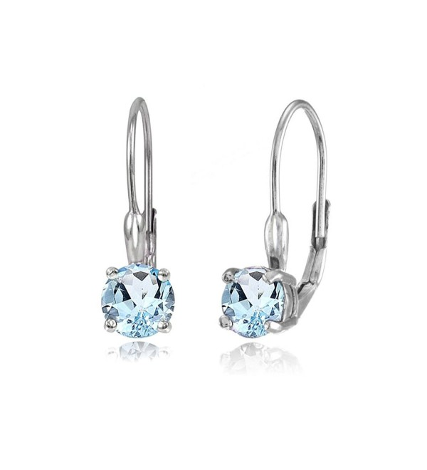 Sterling Silver Genuine or Created Gemstone 6mm Round Leverback Earrings - Blue Topaz - CW12EL1WDEV