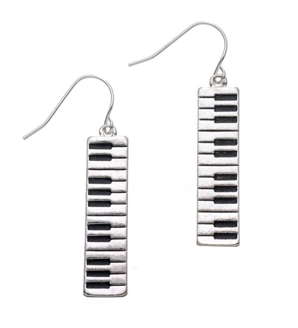 PammyJ Silvertone Piano Keyboard Dangle Earrings - CY11VC704ZN