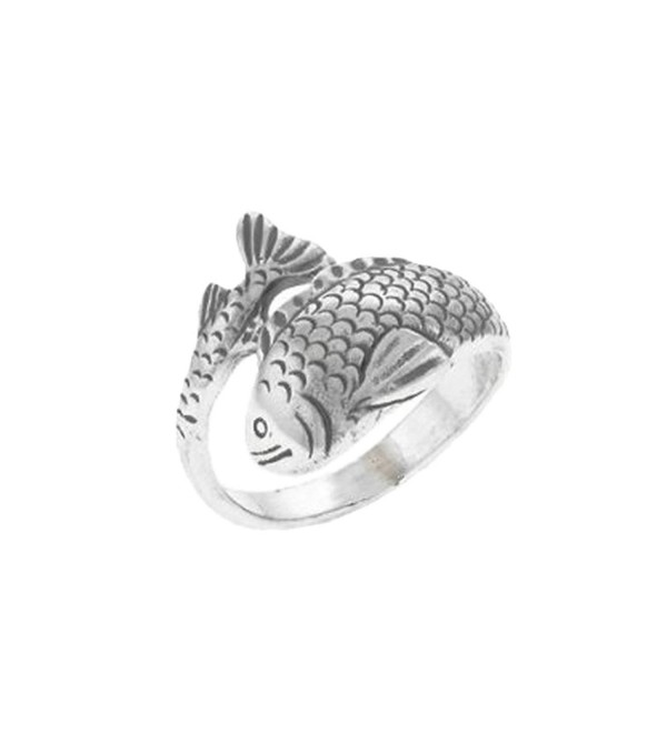 Koi Ring Japanese Carp Asian Fish Sterling Silver - C5116X0E941