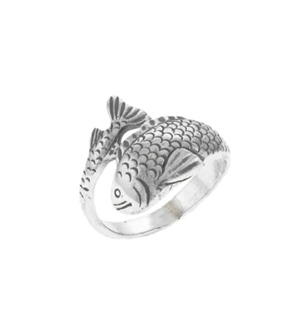 Koi Ring Japanese Carp Asian Fish Sterling Silver - C5116X0E941