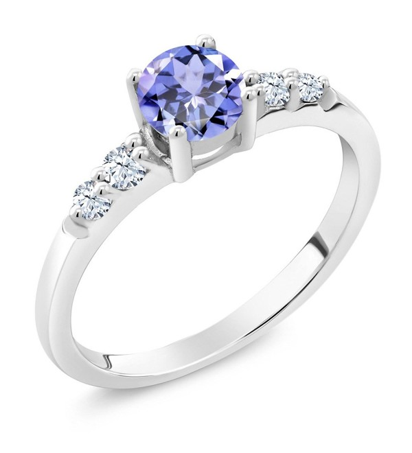 0.63 Ct Round Blue Tanzanite White Created Sapphire 925 Sterling Silver Ring - C611OH1HMGF