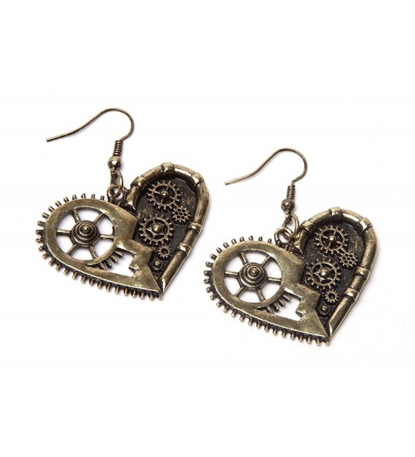 Steampunk Earrings - Gold Gear Heart - CX11WO8MLM3