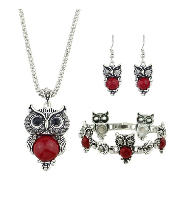 Ethnic Jewelry Set Antique Silver Chain Red Black Beads Owl Pendant Necklace Drop Earrings Charm Bracelet - Red - C91889Q9RKC