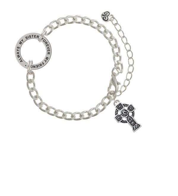Large Celtic Cross Always My Sister Forever My Friend Affirmation Link Bracelet - CA182SMUYR5
