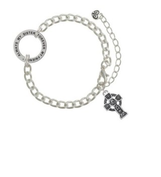 Large Celtic Cross Always My Sister Forever My Friend Affirmation Link Bracelet - CA182SMUYR5