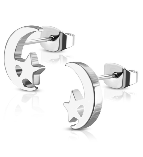 Stainless Steel Tiny Crescent Moon & Star Stud Post Earrings - Silver - CC188S0GKTD