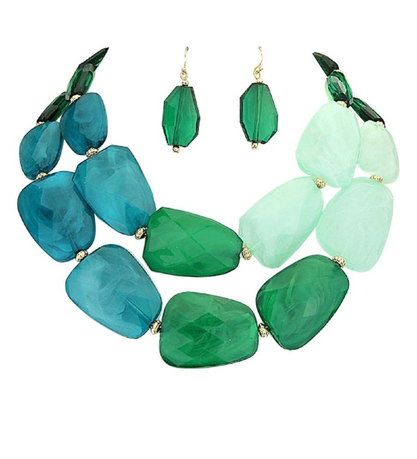 Rosemarie Collections Women's Ombre Polished Resin Statement Necklace Earring Set - Green - CG17YZ0AUSU