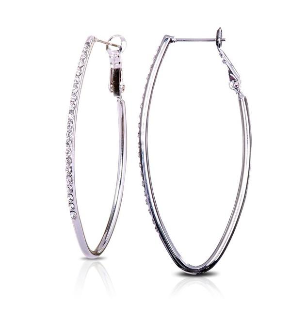 "Swarovski Elements Crystal 2"" Oval Alloy Hoop Earrings - CE11NCUQFFB"