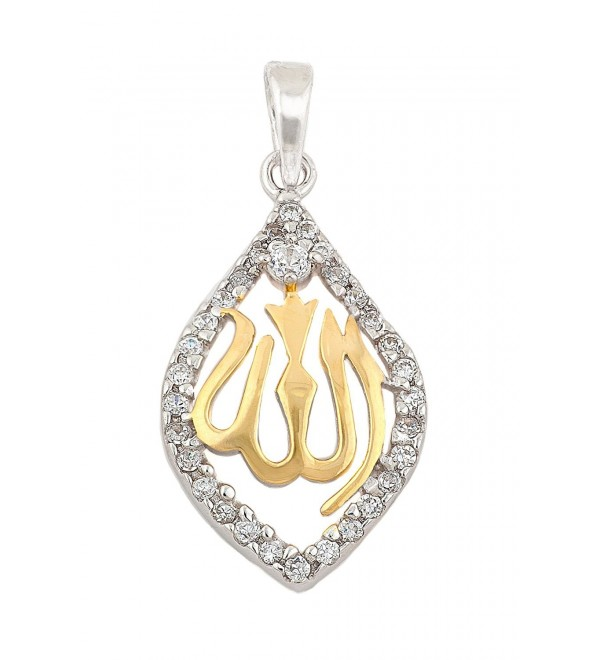 Sterling Silver & Yellow-Gold Plated Muslim Allah Pendant with CZ Border - C6117NMC2TR