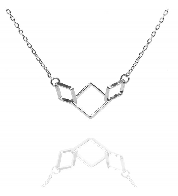 "PAVOI 14K Gold Plated Three Interlocking Link Square Pendant on 16-18"" Adjustable Necklace - CN186GGCN69"