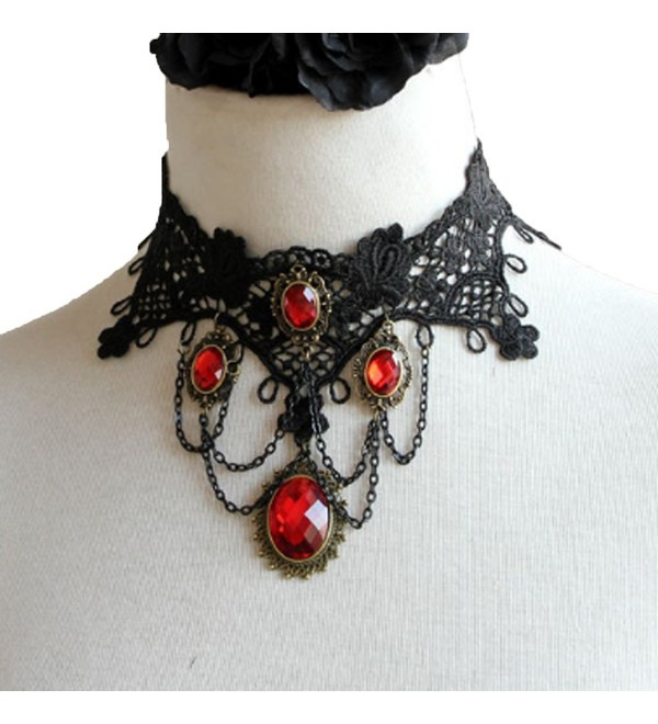 MAFMO Fashion Women Gothic Punk Black Lace Choker Red Rhinestone Drop Pendant Jewelry Set - Necklace - CX128L5MOWJ