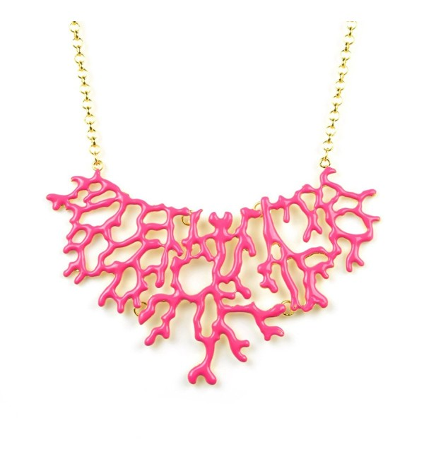 HUAN XUN Branch Coral Statement Necklace Bib Collar Frontal Necklace - CU11O9BK32N