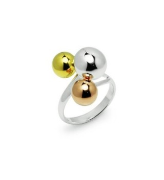 Tricolor Graduated Ball Cocktail Ring - CU12G3EFC79