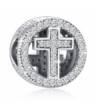 Sterling Silver Possible European Bracelets - Clear CZ Cross - C1183KQTZSH