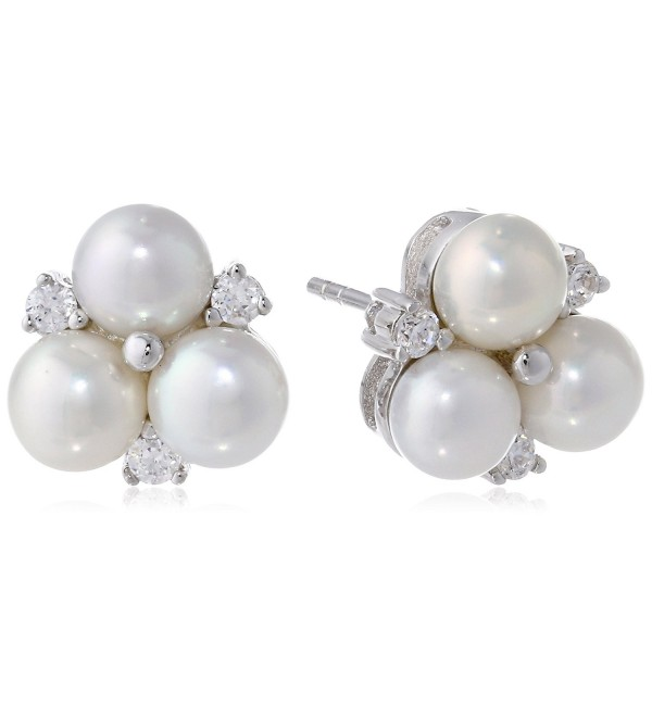 Bella Pearl Cluster Earrings - White - C5119NKLQ1R