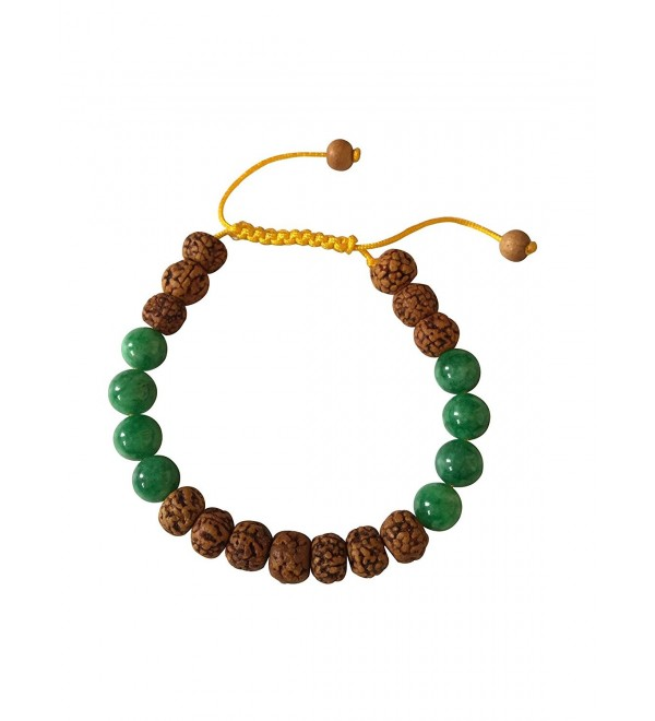 Tibetan Mala Rudraksha and Green Jade Wrist Mala Yoga Bracelet for Meditation - C3127J8YPWV