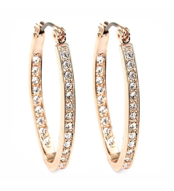 FC JORY Rose Gold Plated Crystal Paved Oval Click-Top Hoop Pierced Dangle Earrings - CV11ER4AY61