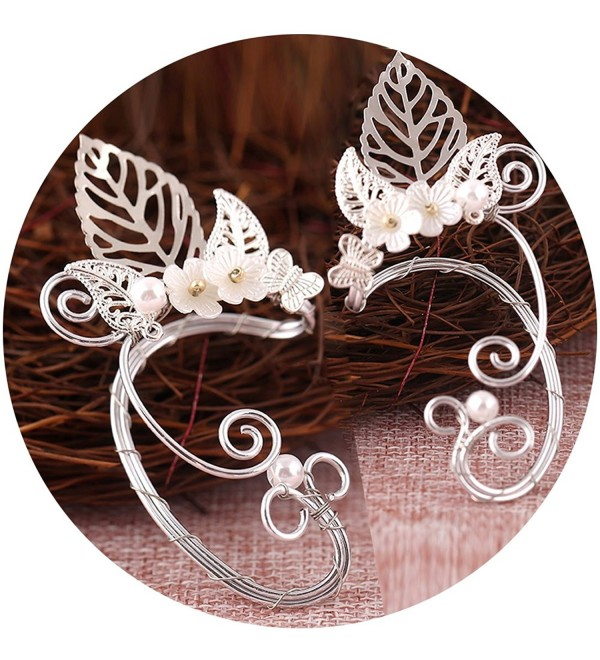 Elf Ear Cuffs- Aifeer 1 Pair Pearl Beads Filigree Fairy Elven Cosplay Fantasy Costume Handcraft Earring - CK17Z53INL8
