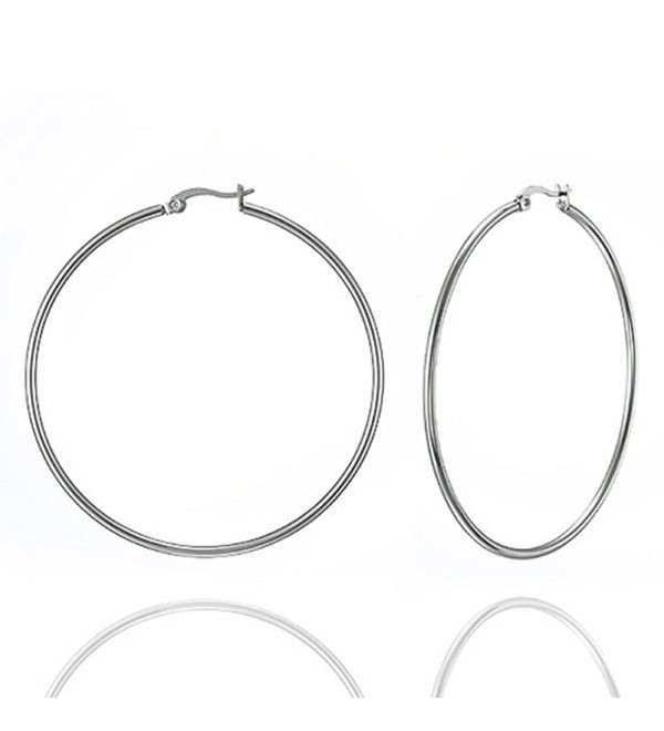High Polish Stainless Steel Women Fashion Big Hoop Earrings 2.4 Inches SPJ - CJ119WXA8U9