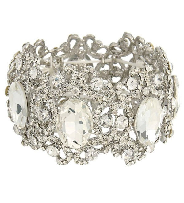 EVER FAITH Silver-Tone Austrian Crystal Bridal Art Deco Flower Elastic Stretch Bracelet Clear - C211VHXW15N