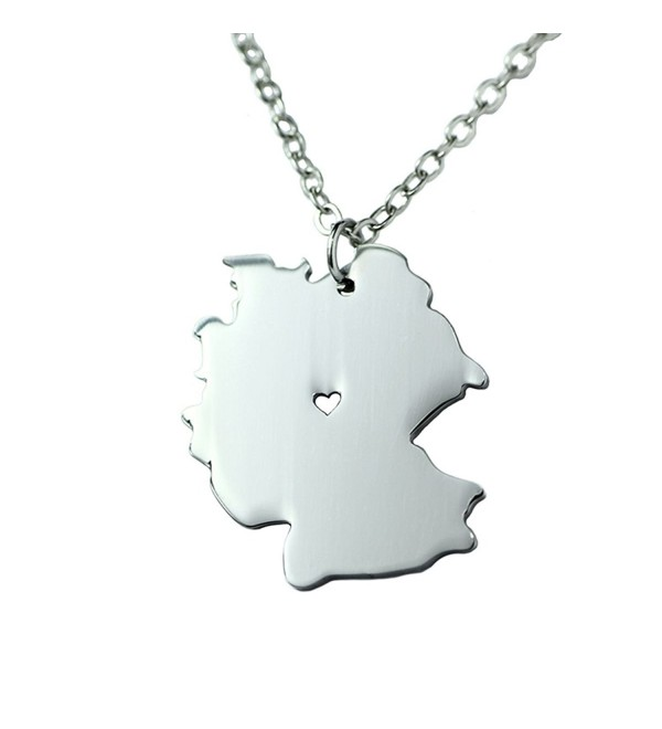 Silver Tone Stainless Steel Map Pendant Necklace- We Love Germany- Germany - CM17Y20SXSS