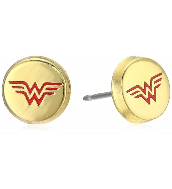 DC Comics Wonder Woman Gold Plated Stud Earrings - CY1217KBSK9