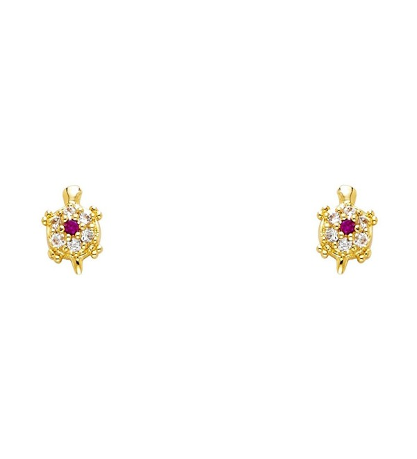 14k Gold Plated Brass Turtle Stud Earrings with Screw Back - C91170XWPKF