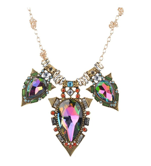 Teniu Fashion Crystal Flower Necklace Statement Collar Necklace Vintage Jewelry For Women Necklace - Multicolor - CO188A4GMKH