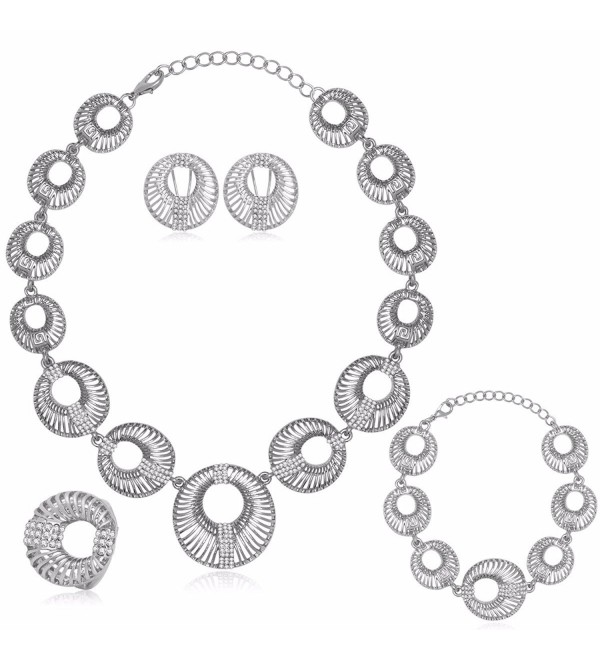 Moochi Silver Plated Morning Glory Pattern Circle Necklace Bracelet Earrings Ring Jewelry Set - CD12MABRD43