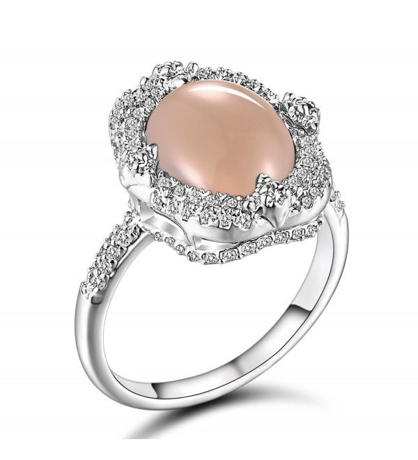 Caperci Women's Sterling Silver Oval Solitaire Gemstone Natural Pink Opal Ring- Size 6-10 - CW186MD5TTL