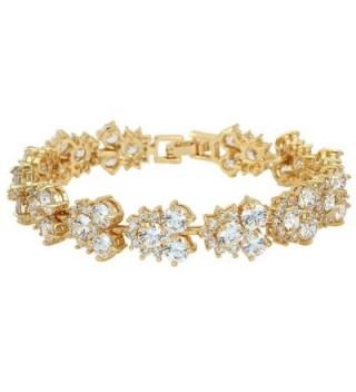 EVER FAITH Women's Full Cubic Zirconia Wedding Bridal Tennis Bracelet Clear Gold-Tone - CK11QJGIYU9