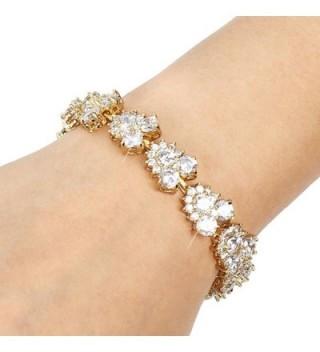 EVER FAITH Zirconia Bracelet Gold Tone