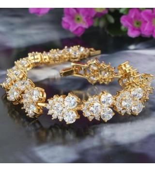 EVER FAITH Zirconia Bracelet Gold Tone in Women's Tennis Bracelets