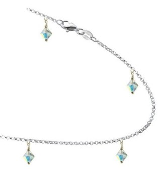 Clear AB Colored Crystals with .925 Sterling Silver Link Anklet- Bracelet. 7-8-9-10-11-12-13 - CC12CKZLSXR