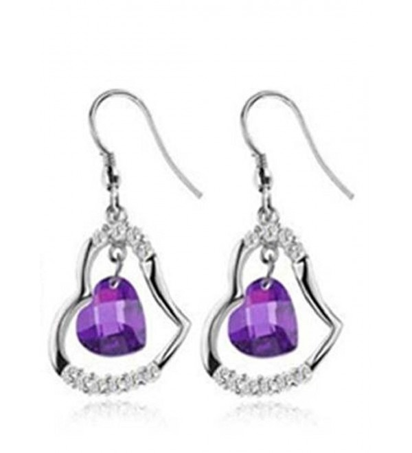 Goldminetrade Jewelry 925 Sterling Silver Simulated Diamond Heart Shape- Simulated Amethyst Earrings - CR11FO92ED5