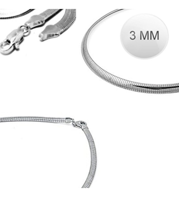 Sterling Silver Italian Solid Flat Omega Chain 3MM Luxurious Nickel Free Necklace with Lobster Claw Clasp Closure - CZ11OT290XP